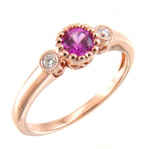 14K Rose Gold Pink Sapphire With Diamond Ring