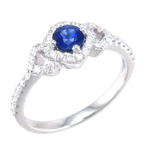 14K White Gold Sapphire With Diamond Ring