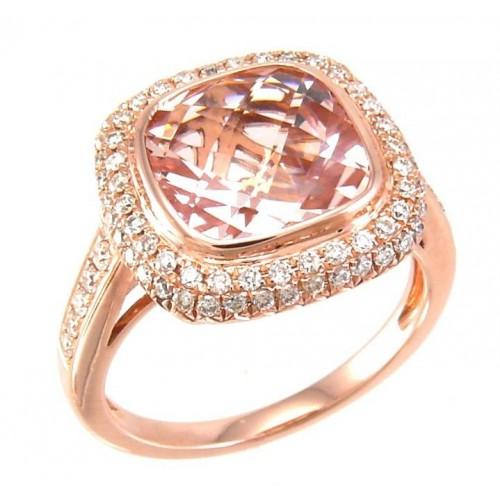 14K White Gold Aquamarine With Diamond Ring