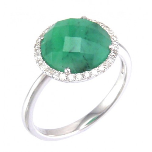 14K White Gold Emerald Rough With Diamond Ring