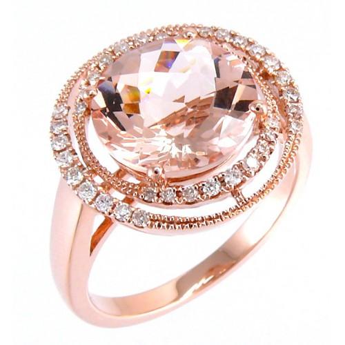 14K Rose Gold MorganiteWith Diamond Ring