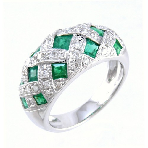 14K White Gold Emerald With Diamond Ring